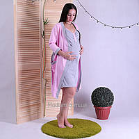 """Женский теплый комплект халат с ночной для будущих и кормящих мам """"Gray"""" р.42-54"""