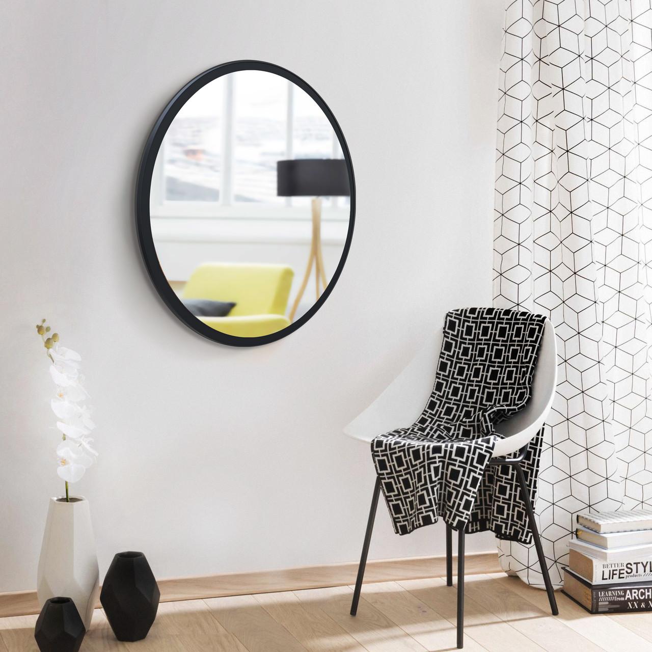 Черное круглое зеркало 600 мм