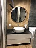 Круглое зеркало в черном цвете с подсветкой 800 мм, фото 3
