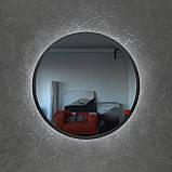 Круглое зеркало в черном цвете с подсветкой 800 мм, фото 4