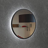 Круглое зеркало в черном цвете с подсветкой 800 мм, фото 5