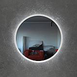 Круглое зеркало в черном цвете с подсветкой 800 мм, фото 7