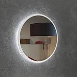 Круглое зеркало в черном цвете с подсветкой 800 мм, фото 8