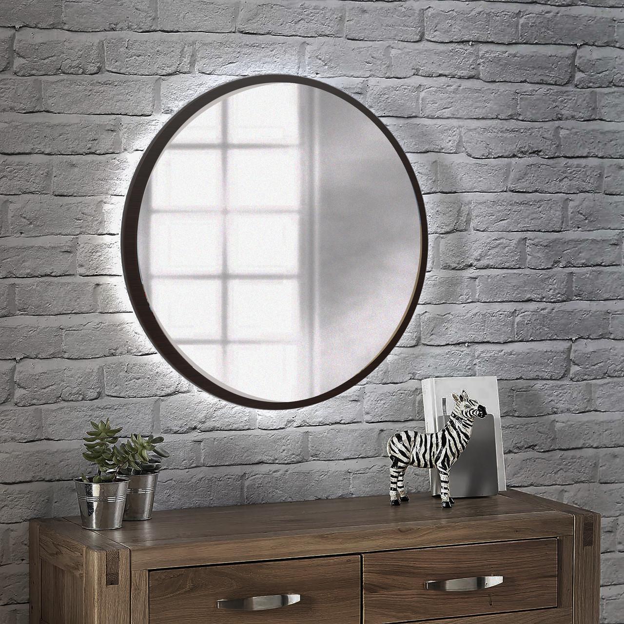 Круглое зеркало с подсветкой 800 мм венге магия