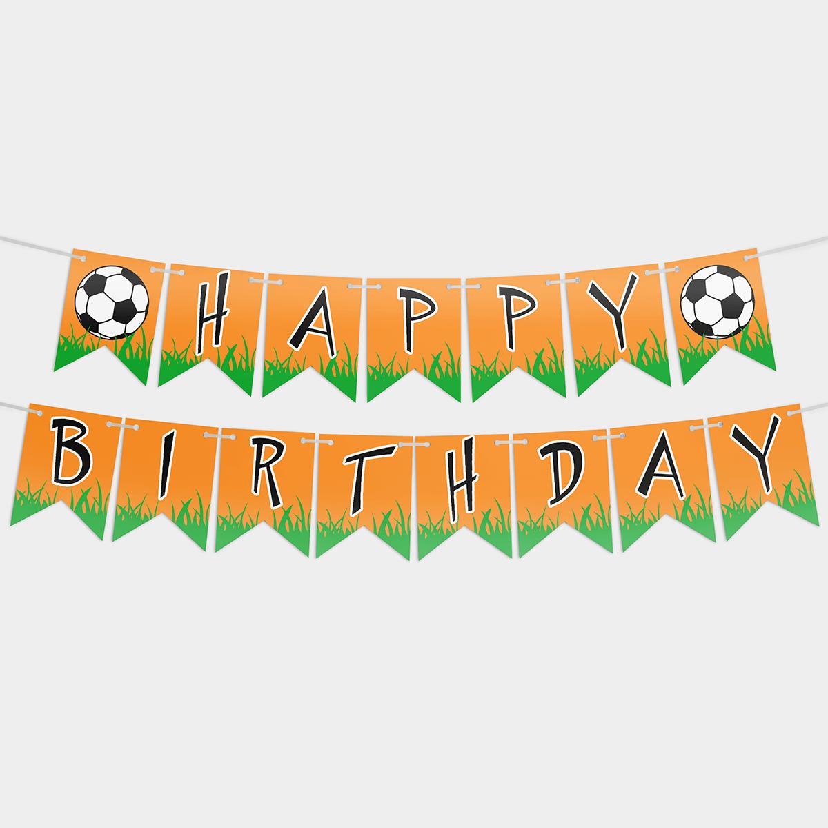 Гирлянда бумажная Happy birthday Футбол