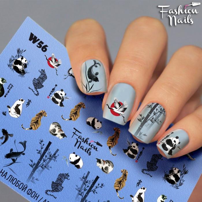 Слайдер Дизайн нігтів Панда Рибка Бамбук - Наклейки на нігті з тваринами - Слайдери водні наклейки КІШКИ