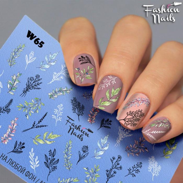 Слайдер-дизайн Квіти Рослини Природа Листочки, Гілочки - водні наклейки для дизайну нігтів Fashion Nails W65