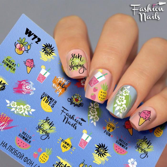 Наклейки водные для ногтей Фрукты - Наклейки на ногти надписи Лето Коктейль Мороженое - Слайдер-дизайн ЦВЕТЫ