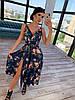 Шелковое принтованное платье на запах с бретелями 66PL1472Q