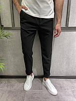 Мужские зауженные брюки черные с подворотом, фото 3