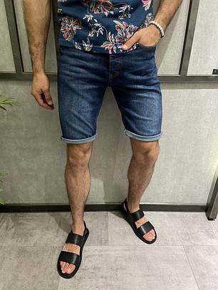 Чоловічі джинсові шорти синього кольору однотонні, фото 2