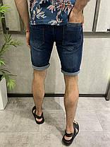 Чоловічі джинсові шорти синього кольору однотонні, фото 3