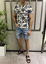 Мужские джинсовые шорты синего цвета с заплатками, фото 3