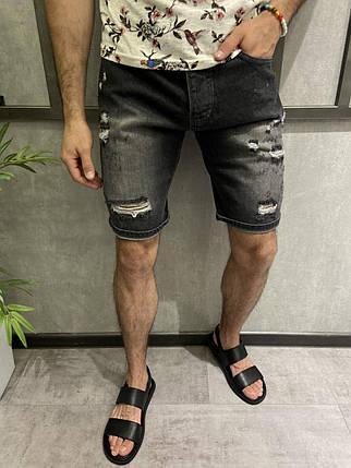 Чоловічі джинсові шорти сірі рвані, фото 2