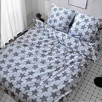 Качественное красивое постельное белье двухспалка, звезды на белом