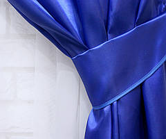 Однотонная ткань атлас. Ширина в рулоне 1,5м. Цвет синий. 10ша