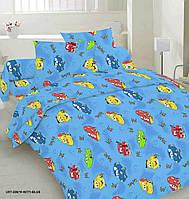 Комплект детского качественного постельного белья, полуторка, тачки маквин