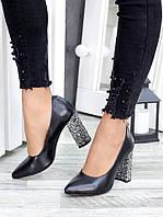 Туфли на каблуке черная кожа блестки 7441-28