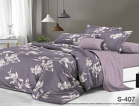 Комплект постельного белья полуторный с компаньоном S407 сатин люкс