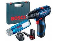 Шуруповерт аккумуляторный + фонарь GSR 120-Li-GLI 12V-300,  2х2,0 Ач//Bosch