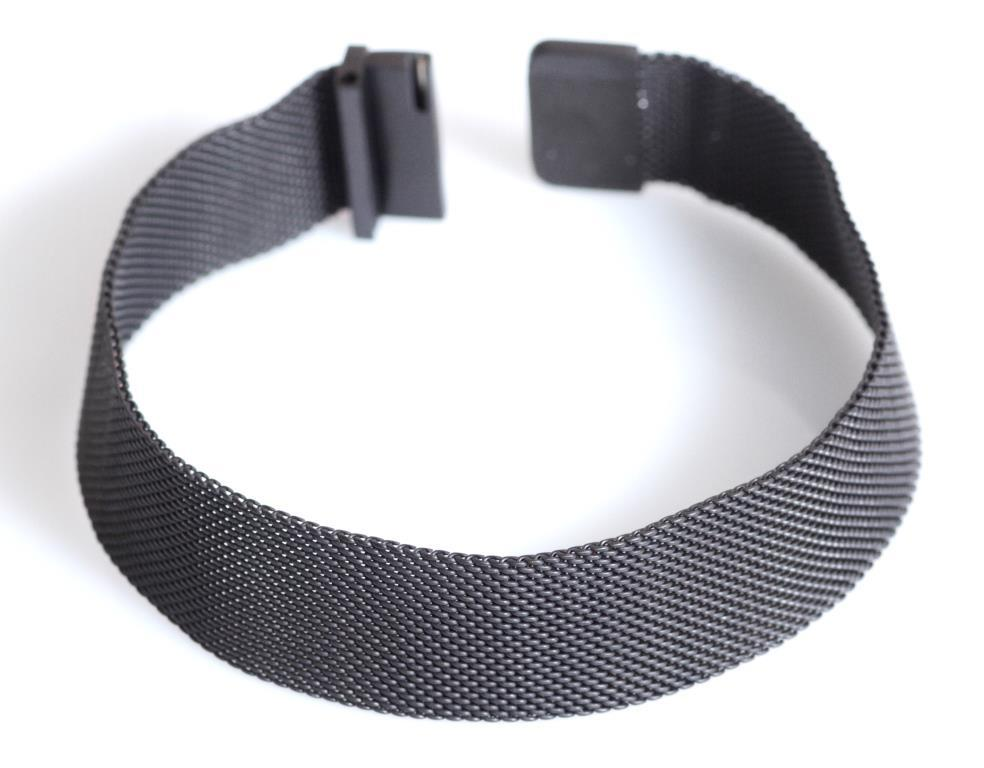 Браслет сетка для часов на магнитной застежке. Миланское Плетение,18 мм. Черный