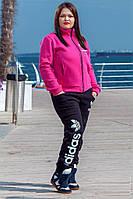 Спортивный женский теплый костюм ADIDAS трикотажный, р.50-56, розовый. Арт-1421/17.