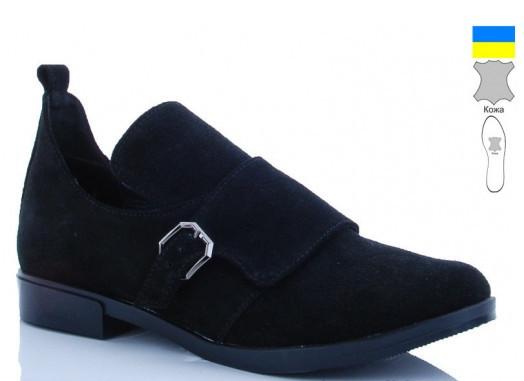 Туфли женские замшевые черные ARTO-134-1-ч.з.