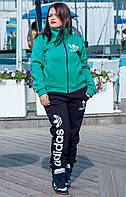 Спортивный женский теплый костюм ADIDAS трикотажный, р.50-56 , бирюза. Арт-1421/17.