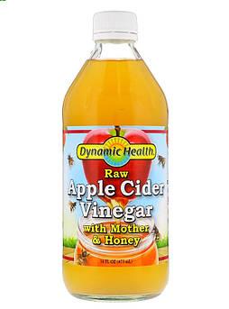 Уксус яблочный непастеризованный органический с уксусной маткой и медом, 473 мл