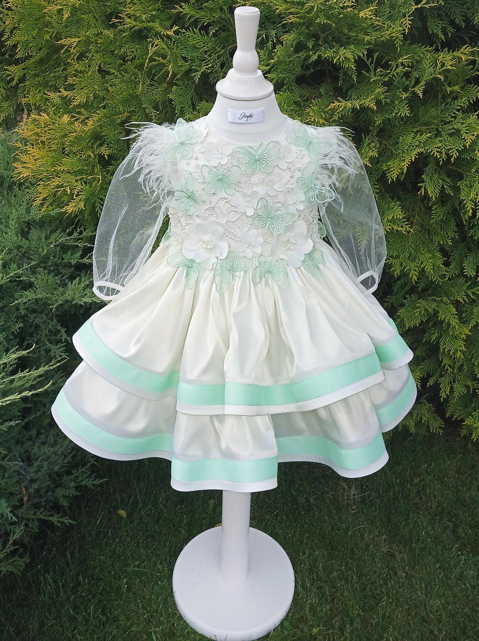 Р 98, детское нарядное платье молочного цвета и с мятными вставками