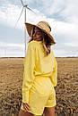 Желтый льняной летний костюм с шортами и рубашкой 31ks1010, фото 3