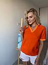 Женская прямая футболка поло с треугольным вырезом 3ma356, фото 4