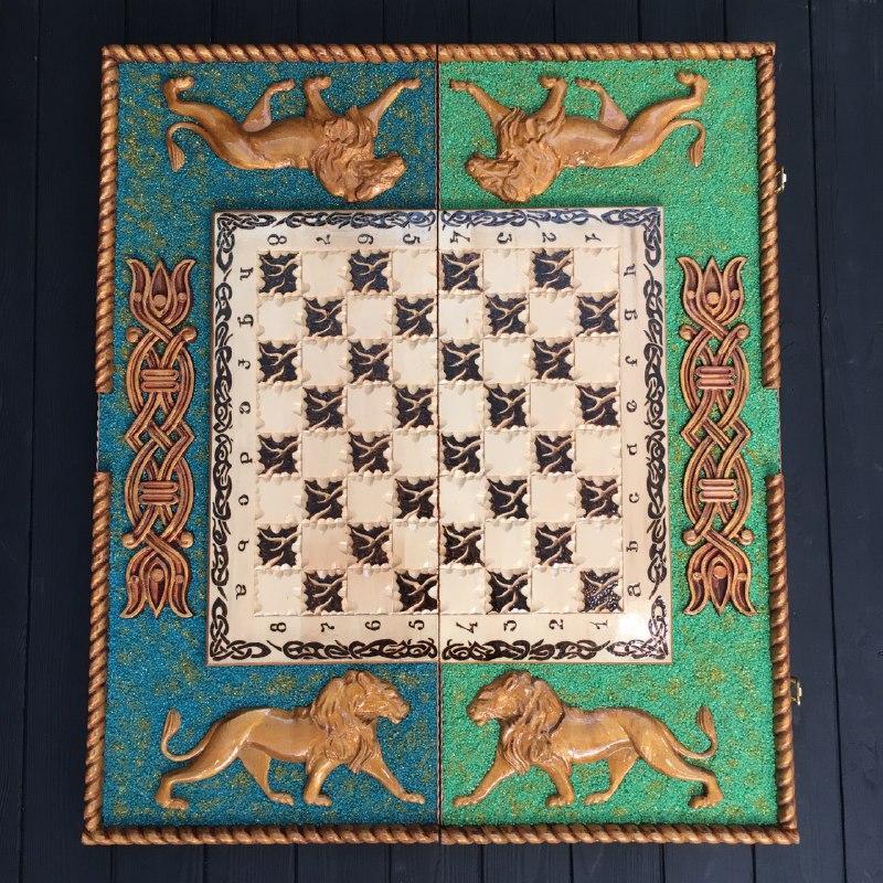 Большие шахматы 3в1 из дерева ручной работы, эксклюзивный подарок для мужчин
