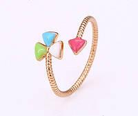 Яркое кольцо Клевер Ювелирная бижутерия 18k Регулируемый размер, фото 1