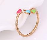 Кольцо Клевер ювелирная бижутерия 18k регулируемый размер, фото 2
