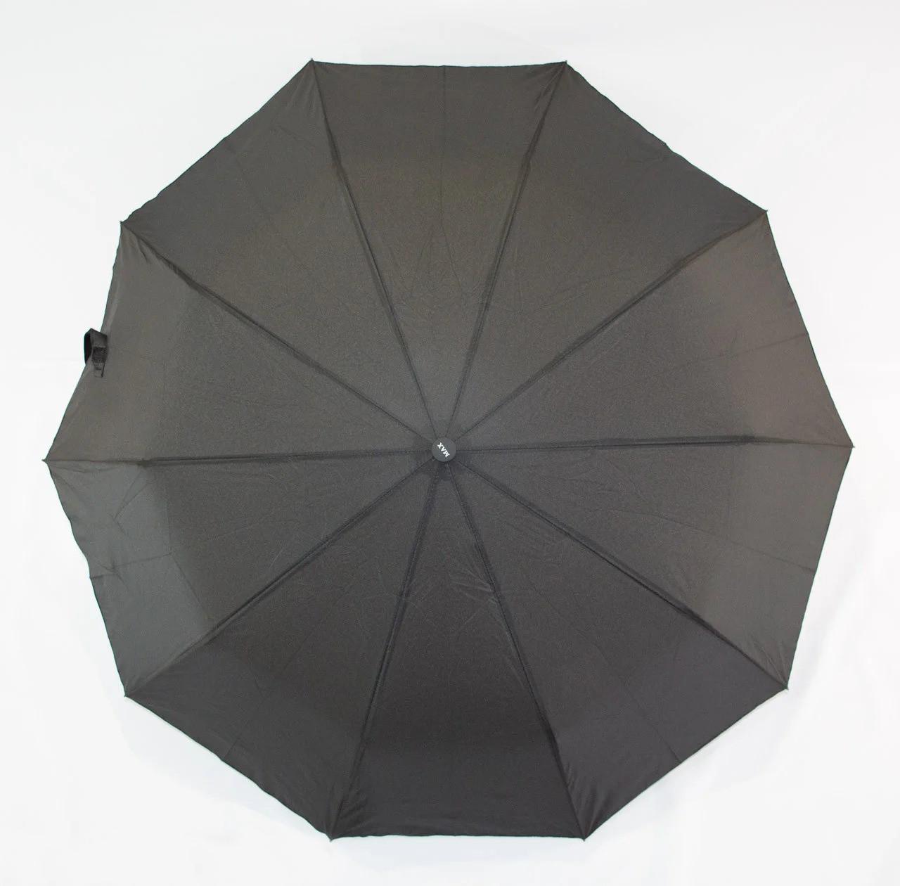 Зонт мужской полуавтомат с куполом 98 см Max черный. Анти-ветер, 10 спиц.
