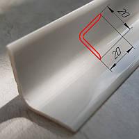 Уголок внутренний декоративный пластиковый отделочный 20 мм х 20 мм, 2,7 м Белый глянцевый, фото 1
