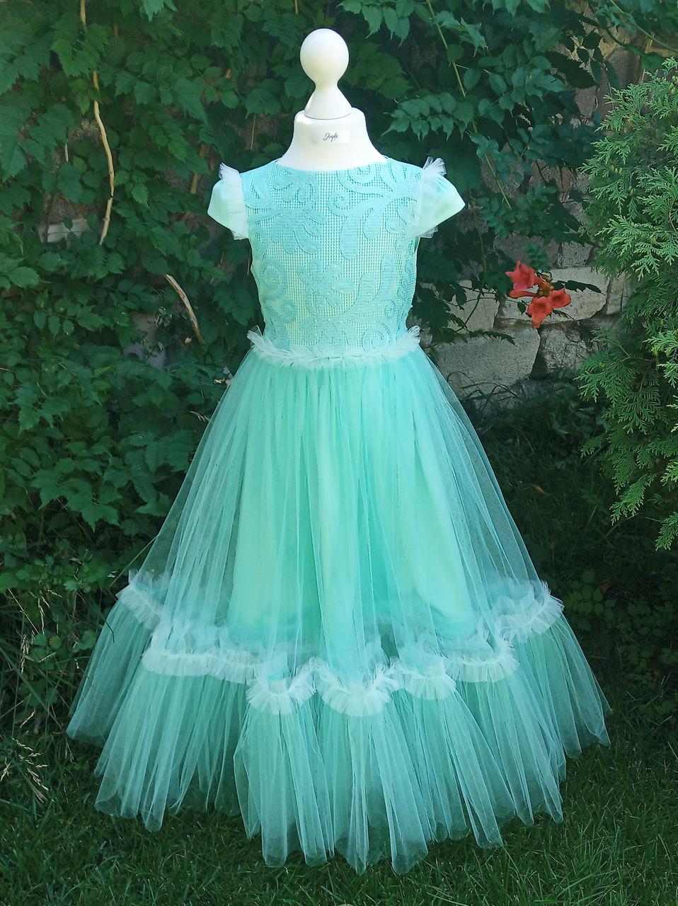 Р 128, детское нарядное платье бирюзового цвета