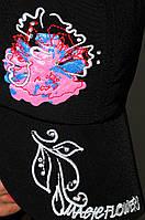 Черная бейсболка с ярким цветком, женская