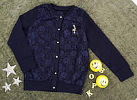 Кофта на девочку, вставка гипюр, р. 6-13 лет, темно синий, фото 1