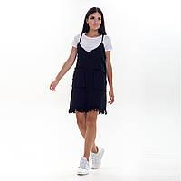 Повседневный летний комплект черный джинсовый сарафан на тонких бретелях и белая однотонная футболка S/M.