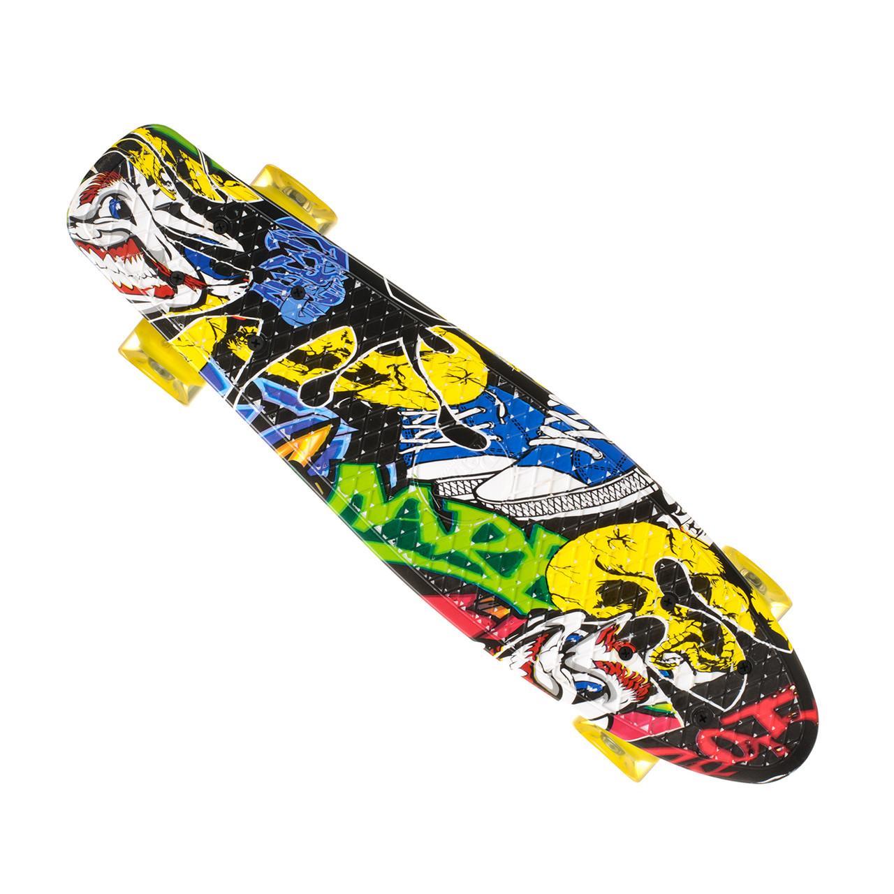 Скейт Пенни борд Best Board 24, колёса PU Светящиеся Граффити (односторонний окрас)