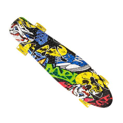 Скейт Пенни борд Best Board 24, колёса PU Светящиеся Граффити (односторонний окрас), фото 2