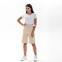 Бермуды женские бежевые шорты с высокой посадкой в комплекте с ремнем M