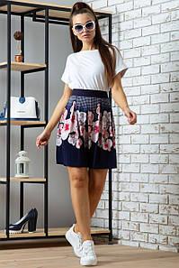 Женская расклешенная юбка из микромасла с цветами (0702-0703 svt) Темно-синий с розовыми орхидеями
