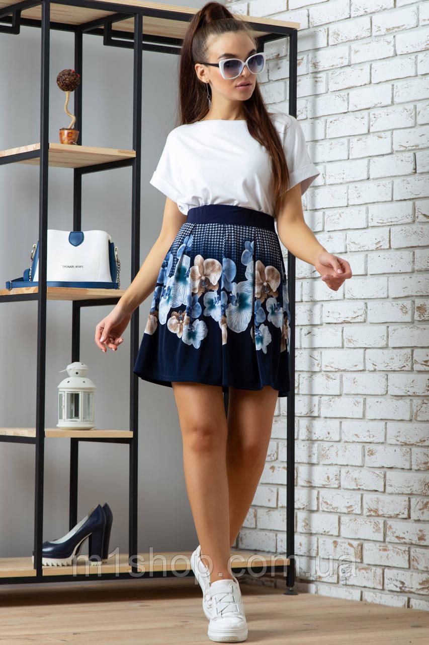 Женская расклешенная юбка из микромасла с цветами (0702-0703 svt)