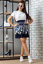 Женская расклешенная юбка из микромасла с цветами (0702-0703 svt), фото 3