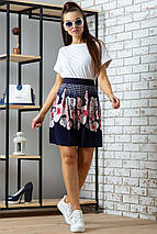 Женская расклешенная юбка из микромасла с цветами (0702-0703 svt), фото 2