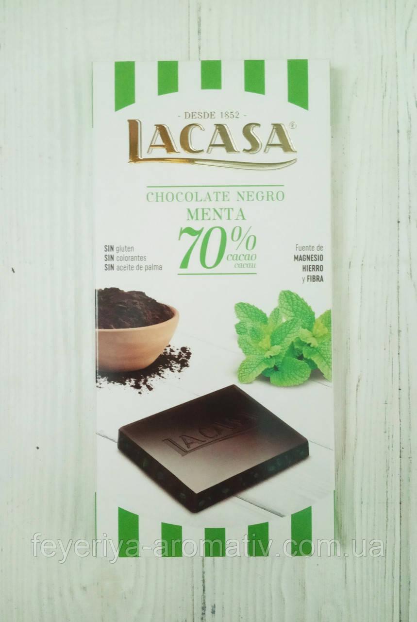 Шоколад черный с мятой Lacasa 70% cacao 100г (Испания)