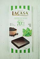 Шоколад черный с мятой Lacasa 70% cacao 100г (Испания), фото 1
